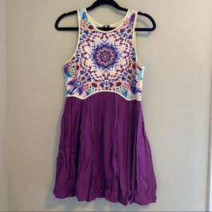 Multicolor top mini dress with purple bottom